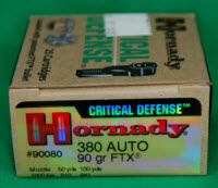 This 90-grain bullet in a .380 personal defense round leaves the muzzle at 1000 feet per second. Compare that to a 9mm or other calibers.