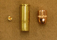 Basic components of a pistol cartridge are the bullet, case, powder, and primer.