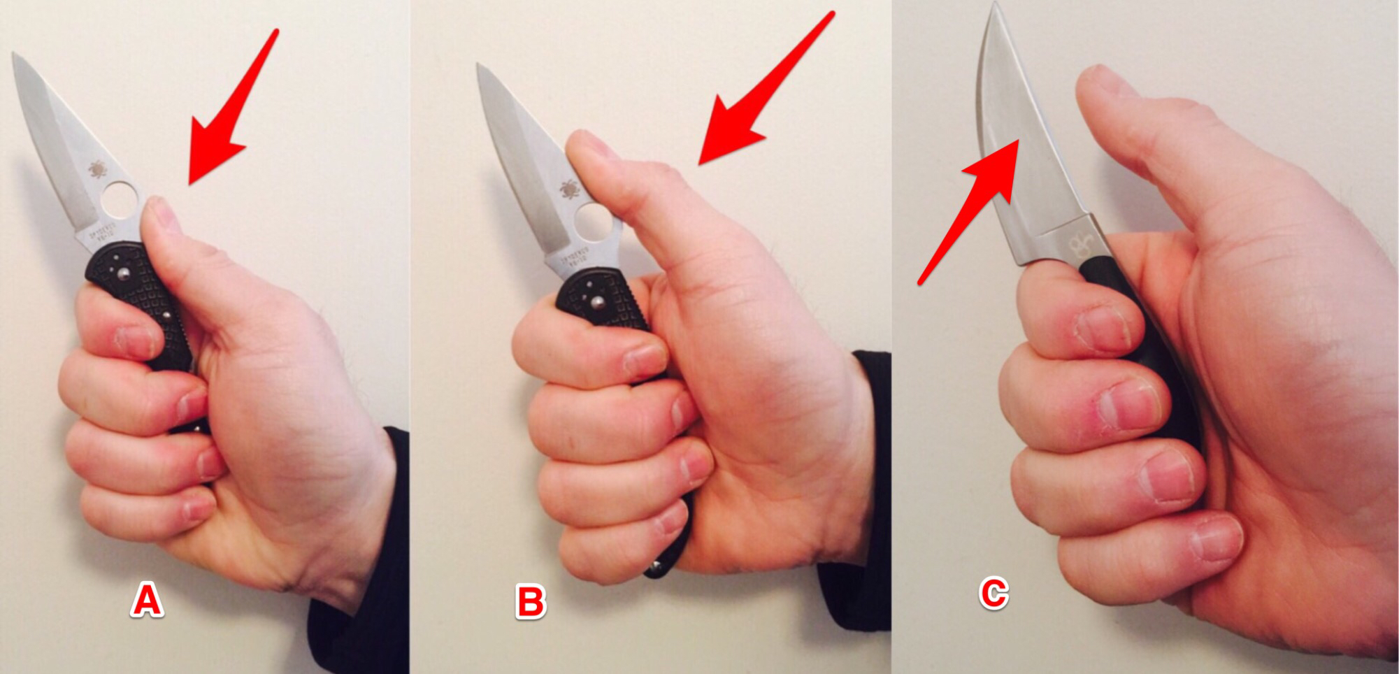 Conventional and Unconventional Knife Grips