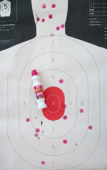 Target marked with bingo marker after each string. Hits for each string of fire can be seen.