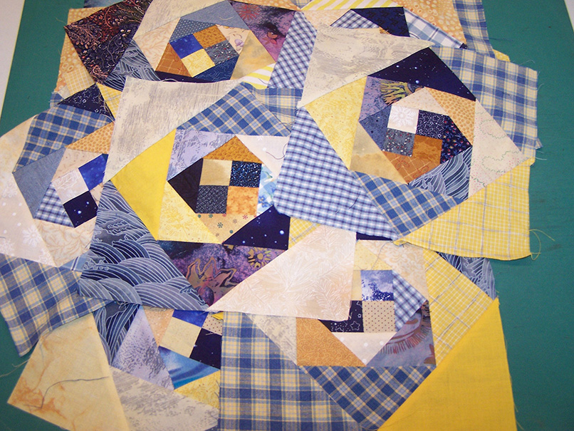 These snails trail blocks were the beginnings of a quilt that I abandoned because the blocks were distorted and of varying sizes.