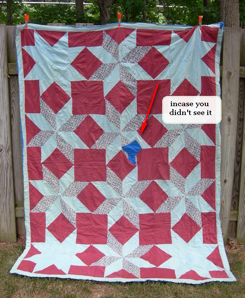 Check out Pat's post to learn the story of her first quilt, including the big blue patch!