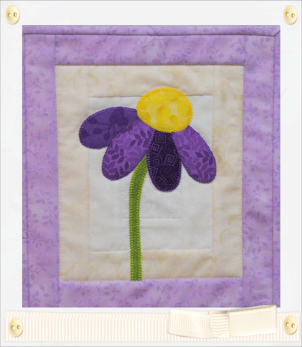 2259be261e5cf7 Quilted Purple Coneflower Mug Rug | National Quilters Circle