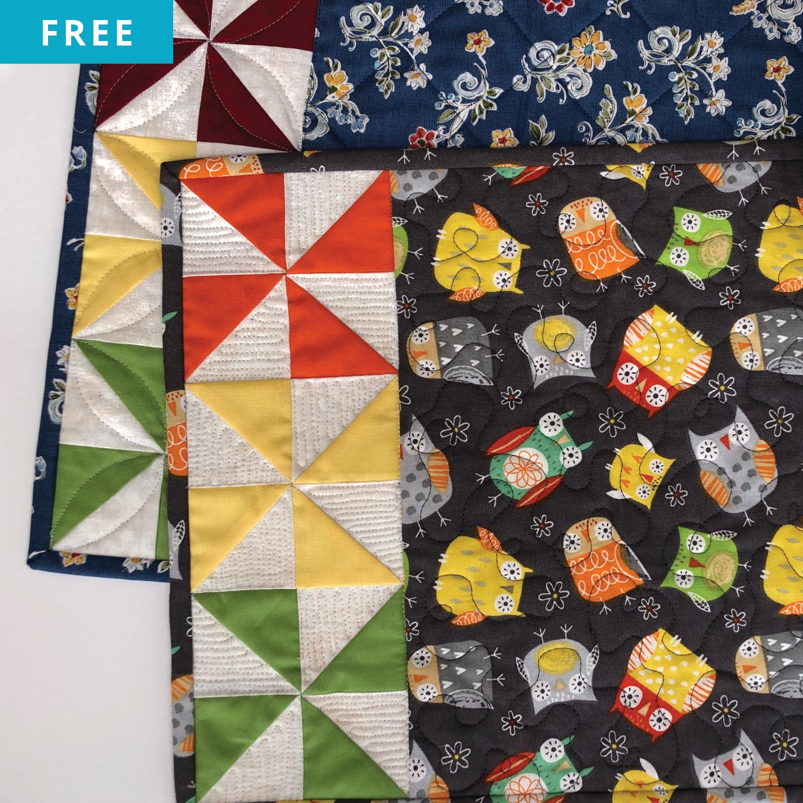 Free Quilt Pattern - Playful Pinwheel Placemats