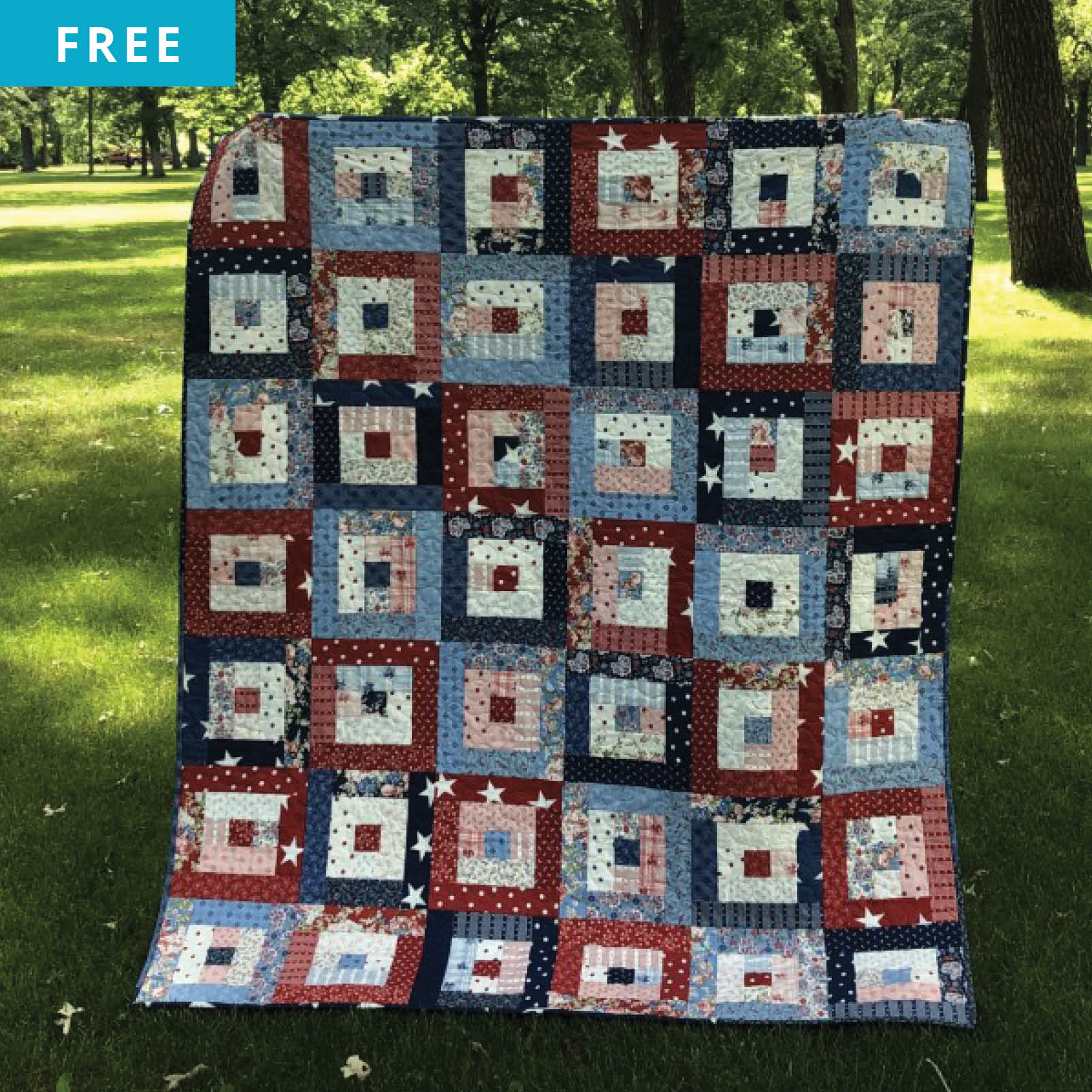 Free Quilt Pattern - Freedom Squares Picnic Quilt