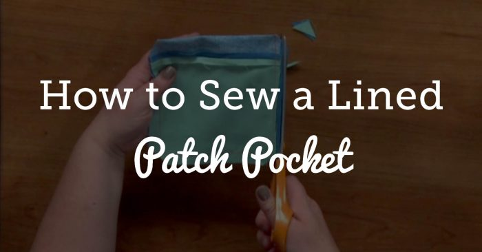 How to Sew a Lined Patch Pocket