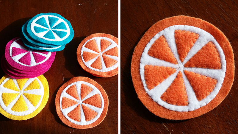 Beginner Sewing Projects: How to Make Orange Slice Felt Coasters