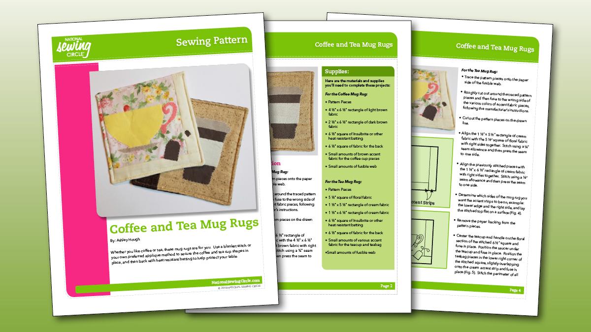 Coffee Tea Mug Rug Pattern National Sewing Circle