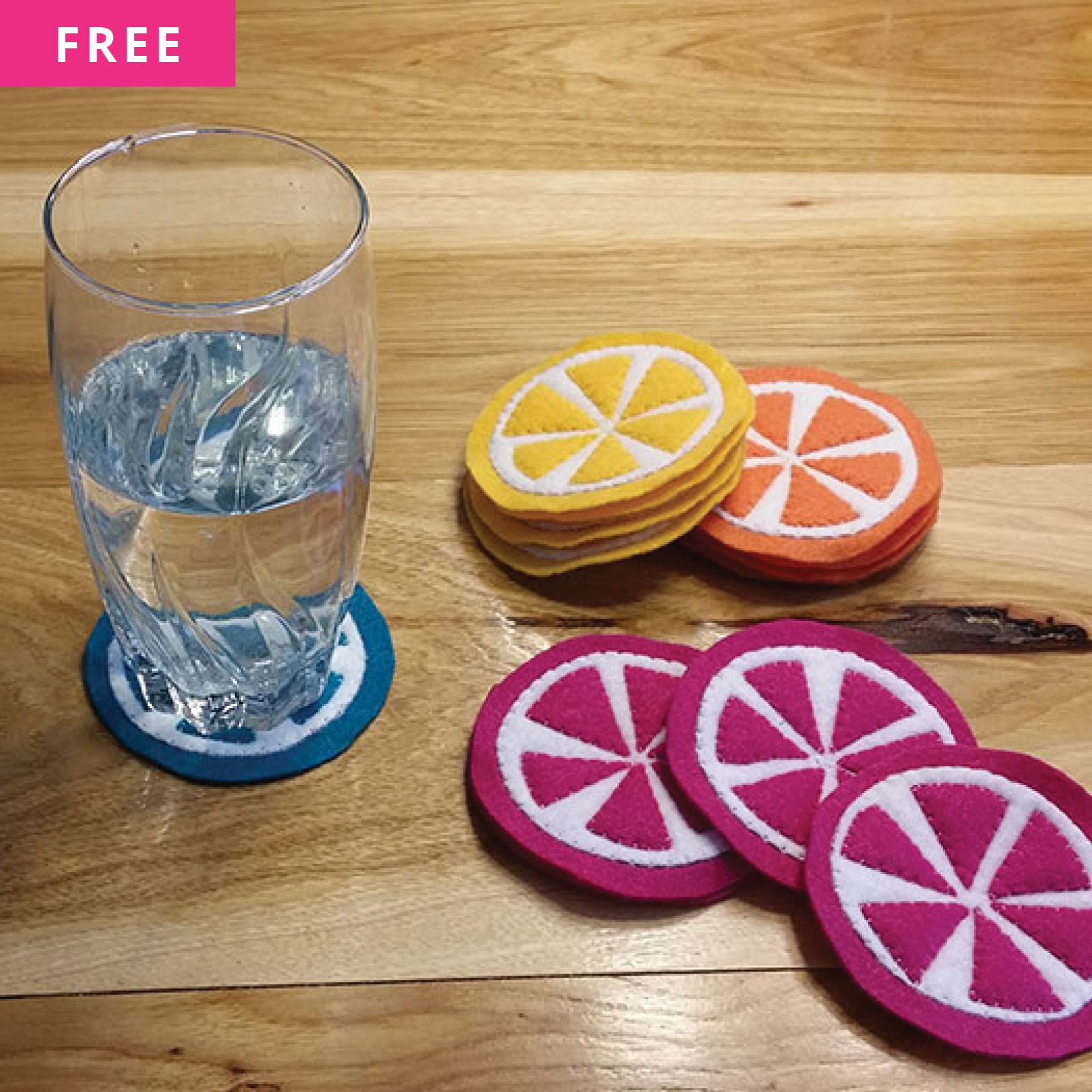 Free Sewing Pattern - Orange Slice Coasters