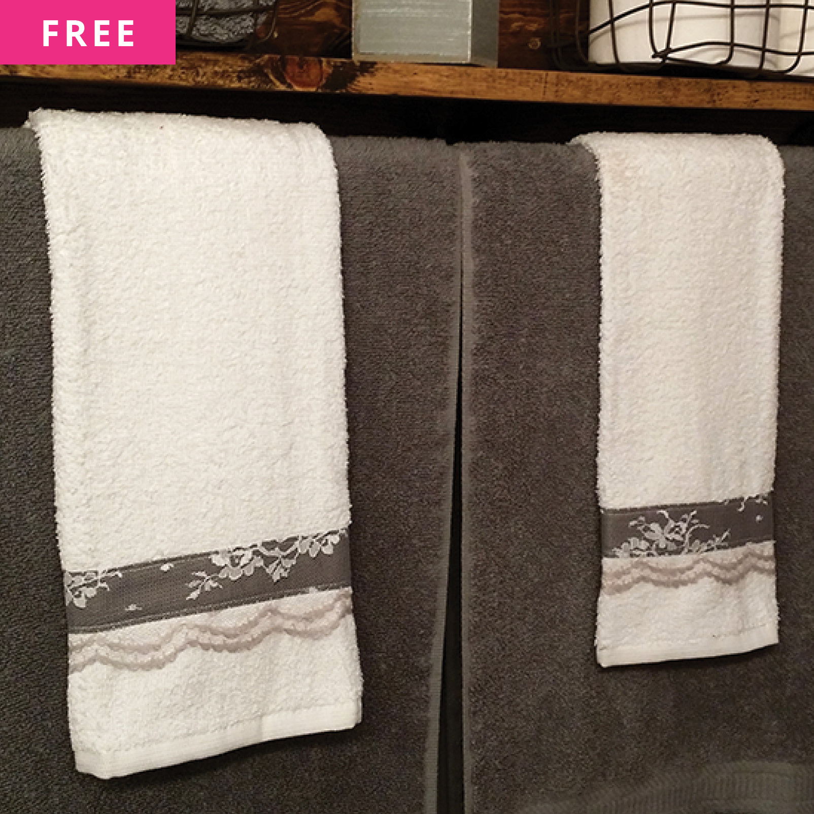 Free Sewing Pattern - Embellished Towels