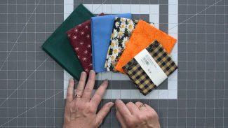 laid out fat quarter fabrics