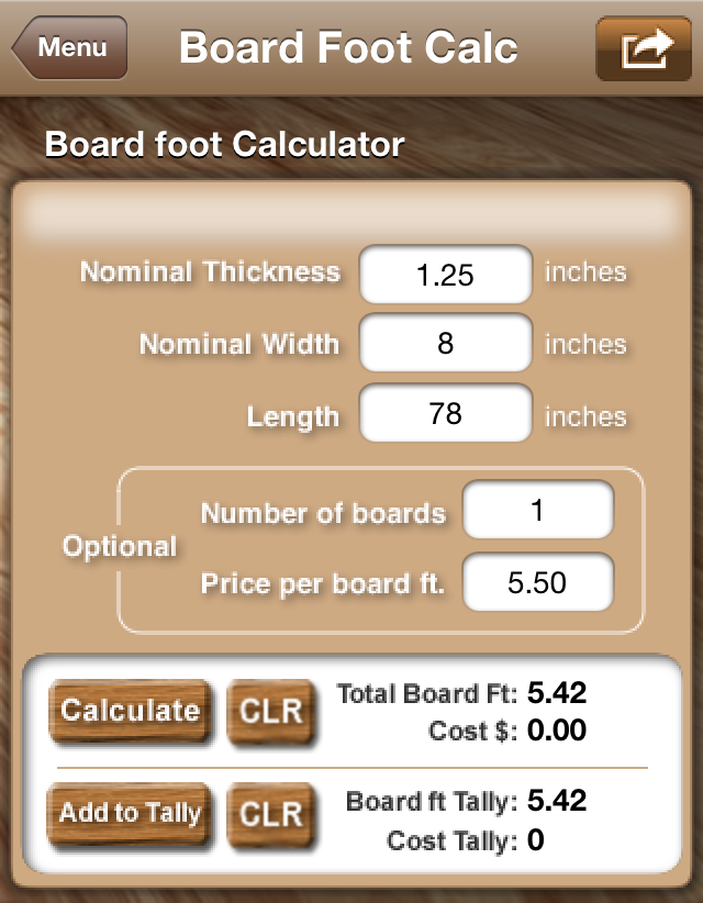 board foot calc