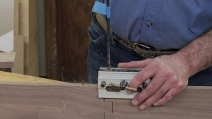 Boring the Hinge Pin into the Wooden Hinge for a Gate Leg Table