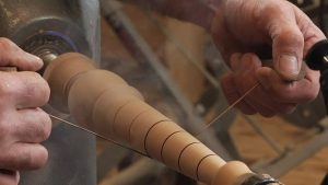 Burning Accent Lines on a Lathe