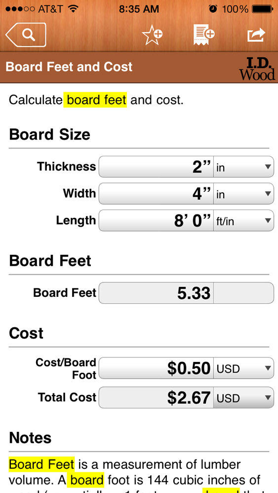 Woodworking App; I.D. Wood Board Feet and Cost