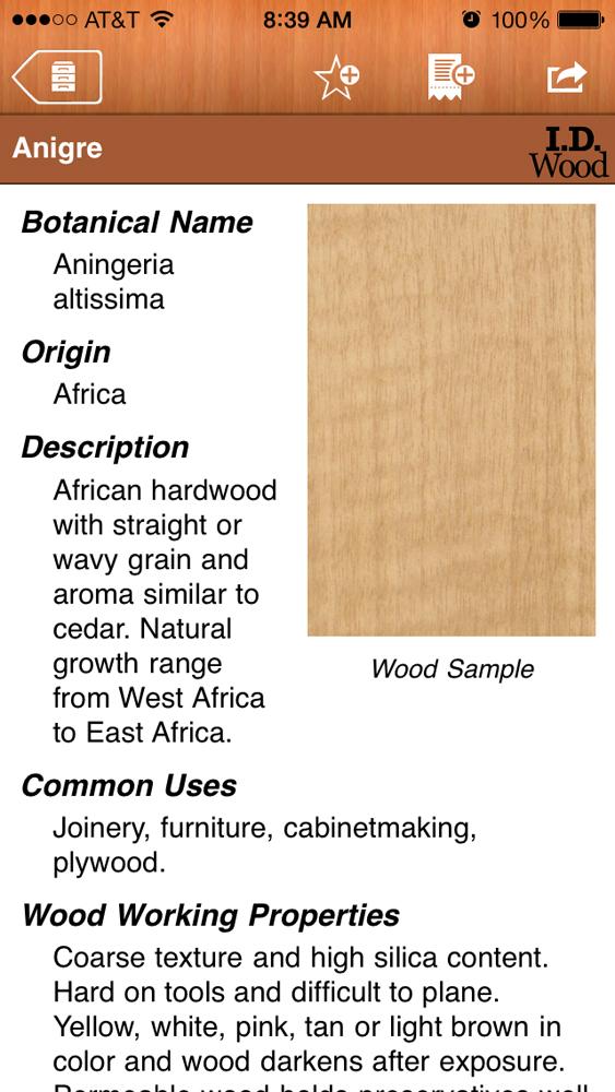 Woodworking App; I.D. Wood Identification