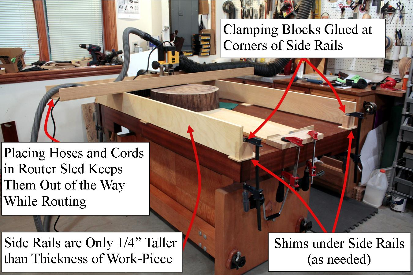 Router Sled on Bench Annotated