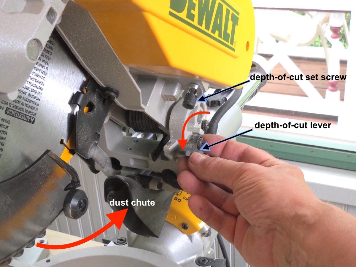 "DeWalt DSW 780 12"" Dual Bevel depth of cut stop mitersaw"