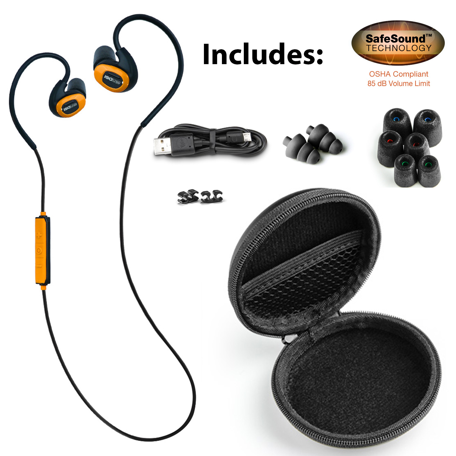 6433a8cc576 Here's the complete ISOtunes Pro kit; a great hard shell case, headset,  three sizes of foam ear pieces, and a charging cord. Similar to using ear  plugs, ...