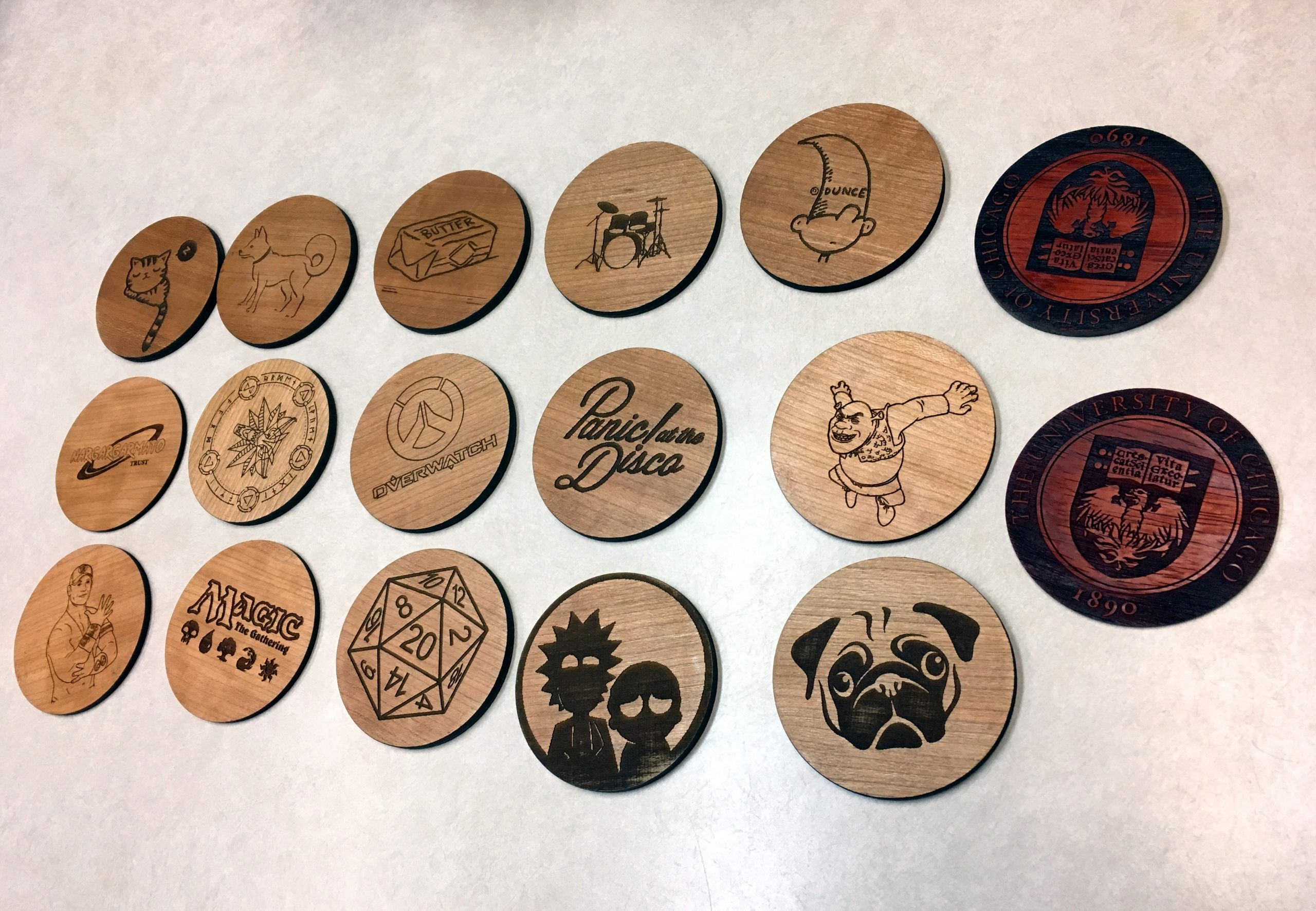 picture of wooden engraved coasters