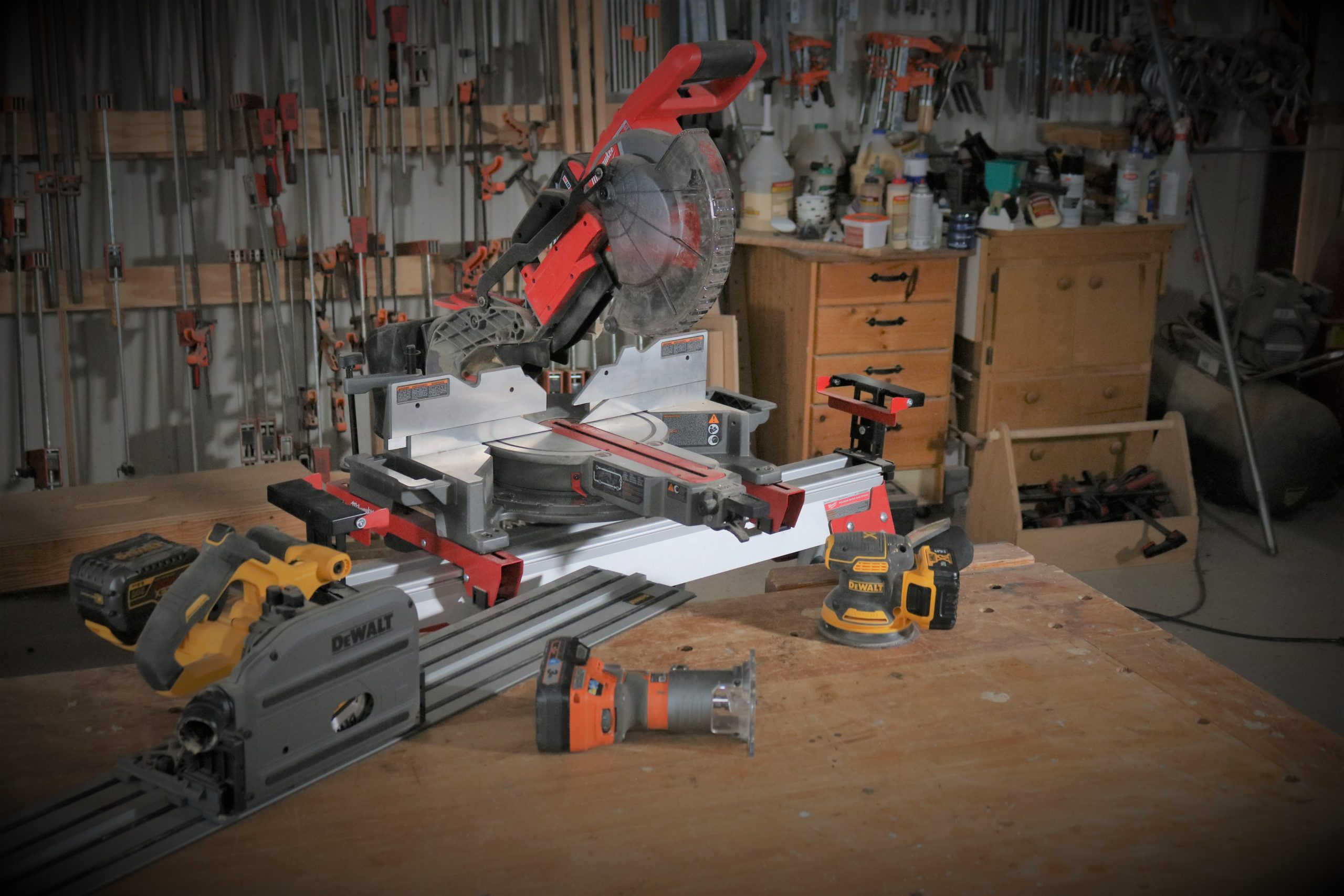 picture of cordless tools on a work table