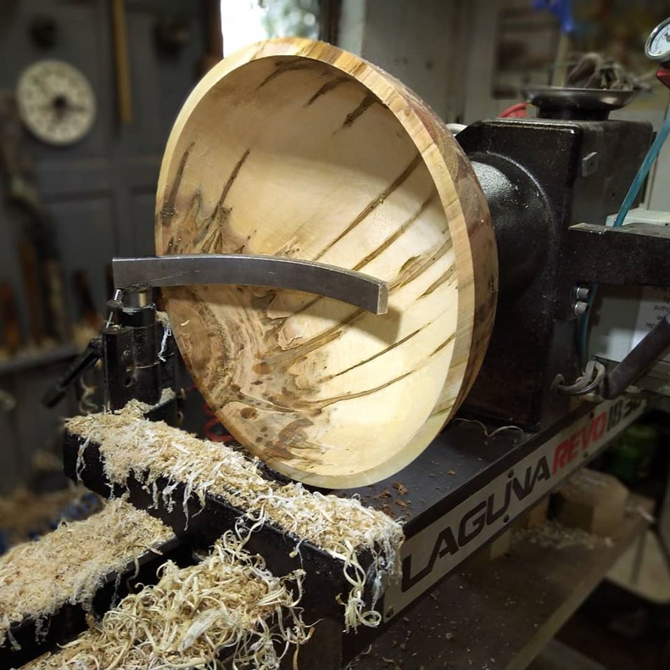 image of a wooden bowl being made
